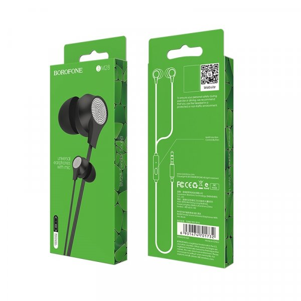 Borofone BM28 In-ear Handsfree με Βύσμα 3.5mm Μαύρο